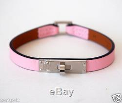 RARE NIB Authentic Hermes Micro Kelly Rose Sakura PINK Leather Bracelet S Small