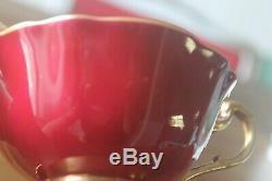 RARE Paragon Gold large Cabbage Rose Teacup Tea Cup Saucer Burgundy