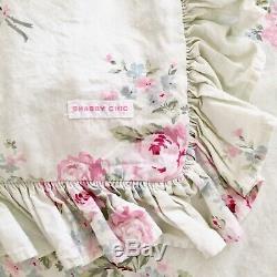 RARE Rachel Ashwell Shabby Chic PINK Label Bouquet Rose Duvet Cover TWIN Green b