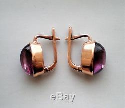 RARE Russian Russia USSR 14K 583 Rose Pink Gold Alexandrite Cabochon Earrings