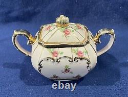 RARE Set Sadler Cube Teapot Sugar Creamer Pink Ditsy Rose Chinz England 1936