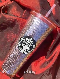 RARE Starbucks 2017 VALENTINE Rose Gold Sequin Tumbler Pink Cold Cup HTF & NWT