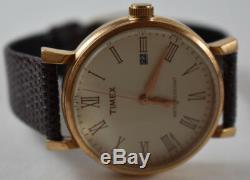 RARE! Timex Men's Originals White Dial Roman Numeral Rose Leather Band NEW BATT