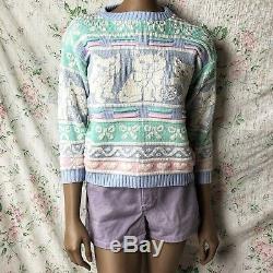 RARE Vintage Rose Fairykei Kawaii Cute Cat Sparkle Pastel Sweater 80s XXS / XS