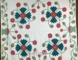 RARE c 1900 Whig Rose APPLIQUE Antique Quilt Red Green VESSEL VINE Border