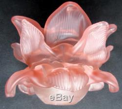 RARE french shade lamp Art Nouveau Flower ROSE18 pink petals