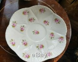 REDUCED. Rare MOUSTACHE Antique Foley China Pink Roses Pattern Cup & Saucer