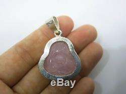 ROSE QUARTZ Genuine PINK Buddha Silver 925 Real RUBY AMULET PENDANT 1.5 Rare