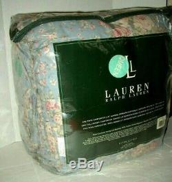Ralph Lauren Shelter Island Full Queen Comforter Blue Pink Rose Floral Rare Nip