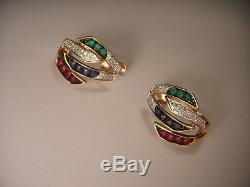 Rare 14K Pink Rose Gold Diamond Emerald Sapphire Ruby Earrings