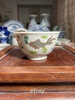 Rare 18th C Antique Chinese Famille Rose fish Cup