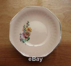 Rare 1930's Vintage Aglo Hollyhock Rose Pink Floral Bowl Plate Dishes- Set of 18