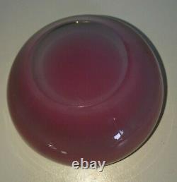 Rare 1960s Murano Alfredo Barbini Rose Pink White Clear Cased Bowl Dish