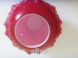 Rare 1981 Fenton Dusty Rose Overlay Roses/cabbage Rose Ball Lamp Shade/globe