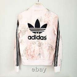 Rare! Adidas Pastel Rose Track Jacket Floral Firebird Trefoil Top Size S Small