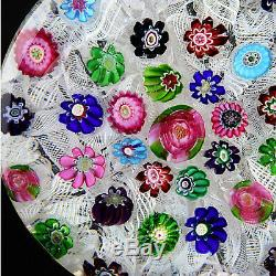 Rare Antique CLICHY True Concentric Millefiori on Lace with3 Pink/Green Roses