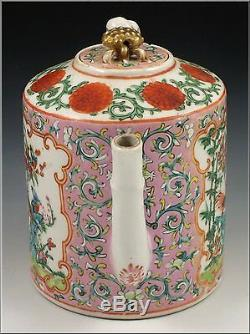Rare Antique Chinese Export Famille Rose Pink Ground Teapot with Bud Finial