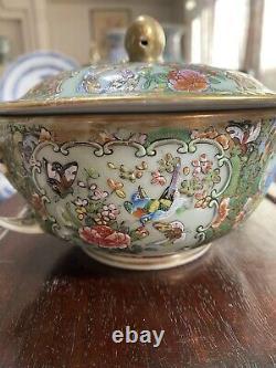 Rare Antique Chinese Famille Rose Medallion Celadon Tureen Lidded Bowl