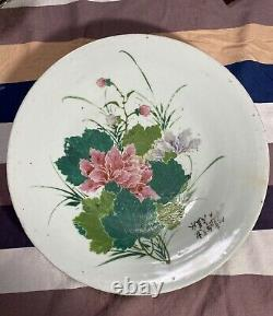 Rare Antique Chinese Famille Rose hibiscus mutabilis Charger Plate