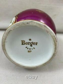Rare Antique Lampe BERGER Lamp Couleuvre NP porcelain rose flower
