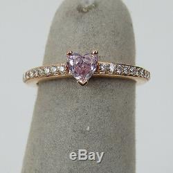 Rare Argyle Heart Shape Pink & White Diamond 18K Rose Gold Ring Size 3.5