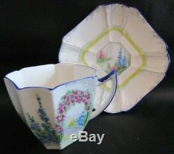 Rare Art Deco Shelley Arch Way Of Roses Queen Anne Shape Cup & My Garden Saucer
