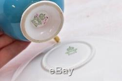 Rare Aynsley Cup Saucer 4 Cabbage Roses Gold England Pink Turquoise Blue