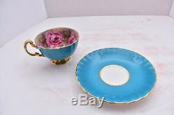 Rare Aynsley Cup Saucer 4 Cabbage Roses Gold England Pink Turquoise Blue teacup