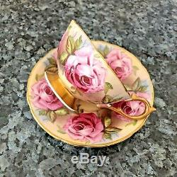 Rare Aynsley England Bone China Pink Cabbage Rose Footed Teacup and Saucer