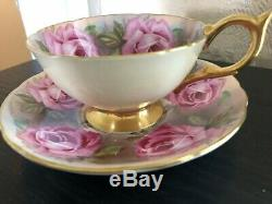 Rare Aynsley England Bone China Tea Cup Saucer Pink Cabbage Roses Signed Bailey