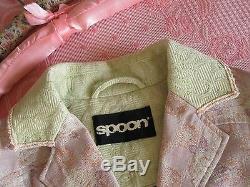 Rare! BOUTIQUE Vtg Dusky Pink Green Rose Floral Brocade Jacquard Tapestry Coat S