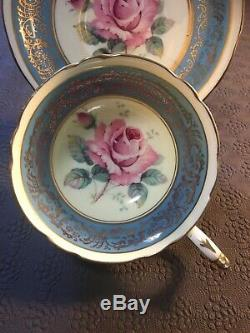Rare Blue Paragon Tea Cup And Saucer With Large Pink Cabbage Rose Centre