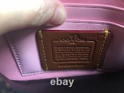 Rare COACH 1941 Tea Rose Appliqué Clutch Black and Pink $295 58181