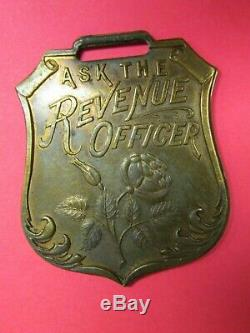 Rare C. 1900 R. M. Rose Distillers Ask The Revenue Officer Watch Fob Whiskey