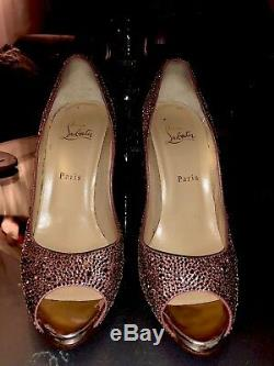 Rare Christain Louboutin Flo Strass Toe Rose Antique Nude size 40.5