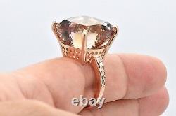 Rare Colossal 14k Rose Pink Gold 32ct+ Cushion Natural Ametrine Diamond Ring