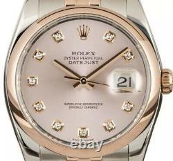 Rare Diamond Pink Dial Rolex Datejust Ref 116231 116201 36mm
