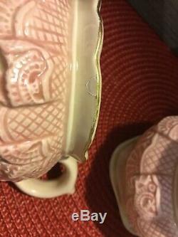 Rare Fitz & Floyd Omnibus Rose Teapot, Lace, Key, Clock, Stamps, Creamer Sugar