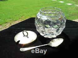 Rare Fostoria American Crystal Necked Rose Bowl Jam Container With LID And Spoon