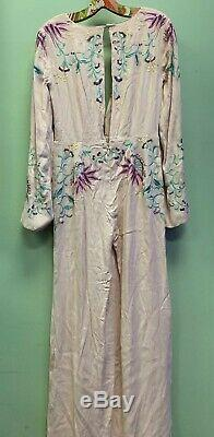 Rare Free People Gypsy Rose Jumpsuit Wide Leg Spell Floral Embroidered 4 $350