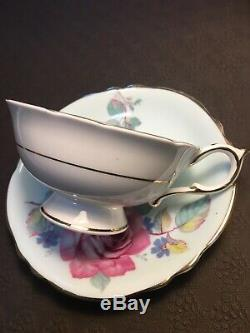 Rare Green Paragon Tea Cup And Saucer With Large Pink Cabbage Rose