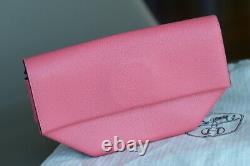 Rare HERMES OPLI Clutch Rose Pourpre Shevre leather handbag ladies POCHETTE pink