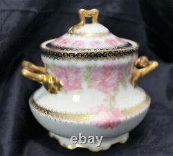 Rare Haviland #55 President Mckinley Sugar Bowl Exquisite! Drop Rose Gold Trim