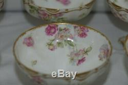 Rare Haviland Limoges Double Gold Set 8 Star Shapped Footed Sherberts Drop Rose