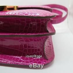 Rare Hermes Constance Bag 23cm Crocodile Rose Sheherazade Ghw Bnib Croco