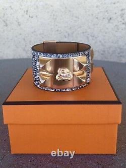 Rare Hermes Lizard Ombre Collier De Chien CDC Bracelet Rose Gold