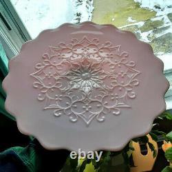 Rare Large Fenton Rose Pink Spanish Lace scalloped edge cake stand SUPER NICE