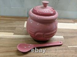 Rare Le Creuset Pink Rose Quartz Pig Bbq Pot sauce Jar with spoon 15 oz NIB