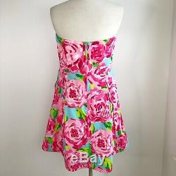 Rare Lilly Pulitzer First Impression Hotty Pink Strapless Dress Womens Size 12