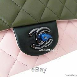 Rare Ltd Ed Chanel Mini Flap Bag Lambskin Rose Pink Green Bnib Cuba Collection